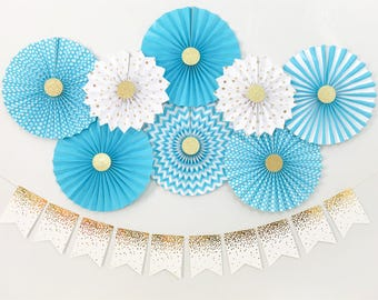 Baby Boy Shower Decorations, Birthday Boy Party Decorations, Blue and Gold Paper Fans