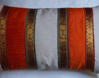 India orange 5 series: cushion, 30 x 50 (12 x 20), linen, silk dupion orange Indian, Indian embroidered fabric.