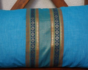 Rainbow sky 7 series: South India cover 30x50cm (12 x 20 inches) cushion, cotton lined with embroidered braid. Light blue color.