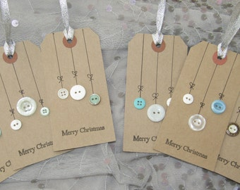 Christmas Gift Tags/ button baubles/ craft