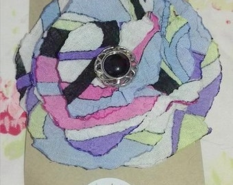 Flower hair clip, Purple Pink White & Black With Button Center Pucci Style