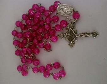 Bubble gum pink Mary Rosary