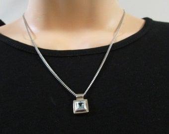Sterling Silver Topaz Gemstone Necklace