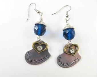 Hand stamped sweetheart earrings