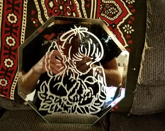 Etched Angel girl mirror