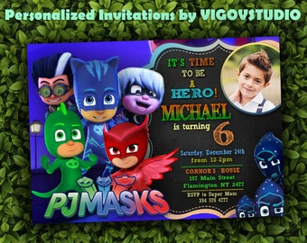 PJ Masks Invitation-PJ Masks Birthday Party- PJ Masks Birthday Invitation- Invitation Personalized-Birthday Pj Mask - Digital file- Fhoto