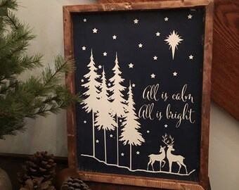 All is Calm All is Bright Wood Sign, Farmhouse Wood Sign, Rustic Wood Sign,