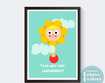 You are my sunshine Poster - VINTAGE FISHER PRICE flower rattle - Happy Sun - Kids Room - Nursery  - Printable Digital Instant Download
