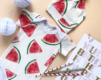 Baby bodysuit, baby onepiece, Watermelon, organic beanie, onesie, baby bodysuits, unicex baby clothes, baby sleepsuit baby clothes, hat