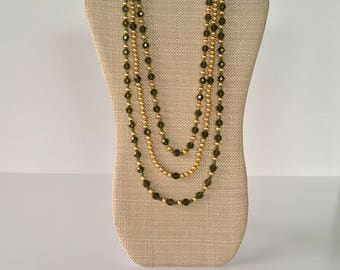 Green and gold Necklace, 3 strands of green and gold necklace, green and gold beaded necklace