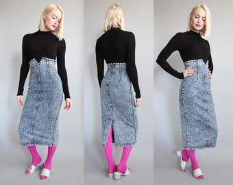 Vtg 80s Super High Waisted Acid Wash Denim Midi Skirt sz XS