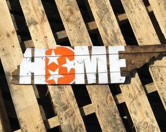 Tennessee Home Rustic Wood Wall Sign State Shape Cut Out With Orange Tristar Wall Hanging Home