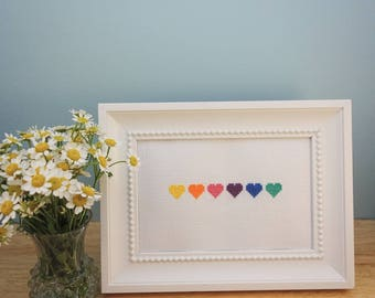 Rainbow Hearts Cross Stitch