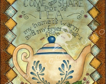 "Original 11"" x 14"" Mixed Media Painting on Canvas Board - Share a Pot of Tea"