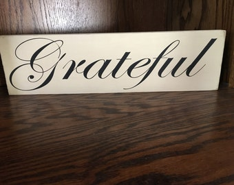 Grateful wood sign
