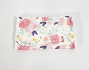 Floral Burp Cloth - Baby Burp Cloth - Baby Girl Burp Cloth - Watercolor floral - Pink Flowers -  Purple Floral - Baby Girl Shower Gift