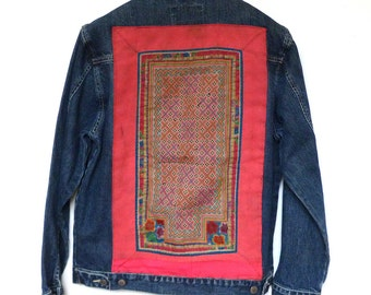 Giordano Denim Jacket embroidered with Thai Hill Tribe textiles size M