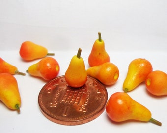 Dolls House Miniature Fruits  Pack Of 12 Yellow Pears