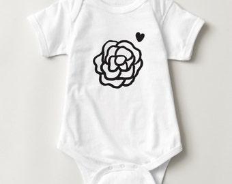 Baby Wilde Black Rose Bodysuit || screen printed onesie, top, short sleeve, baby, infant, girls