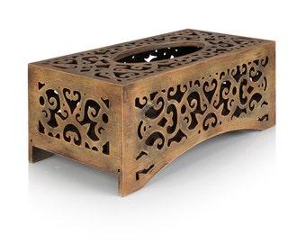 Tissue box cover handmade Kleenex holder wooden box Beige-brown