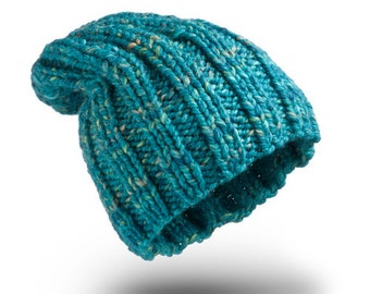 Thick Hat Turquoise Melange for women beanie hat  chunky hand knit hat