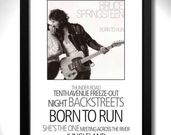 BRUCE SPRINGSTEEN - Born to Run Album Limited Edition Unframed A4 Art Print with Song Titles