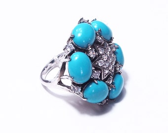 Turquoise flower ring and star of crirstal