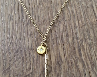 14 Kt Gold Filled Rectangle Chain Y Lariat Necklace with Gold Vermeil Cubic Zirconia (CZ) Star Charm / Unique Gift/ Long Layer Stack Jewelry
