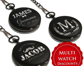 Custom Pocket Watch - Groomsmen Gift - Personalized Pocket Watch - Engraved Pocket Watch - Best Man Gift - Mens Pocket Watch - Black
