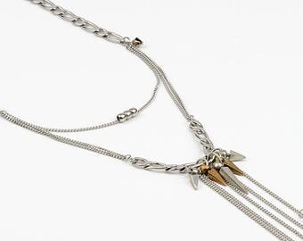 Long necklace in stainless steel, pewter and Swarovski crystals