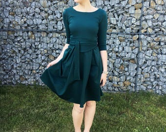 Her Business Lifestyle Dress with belt / green, darkgreen, elegant, classic, casual, kneelengths, 3/4 arms, Made in Germany, summerdress