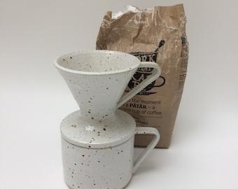 Handmade ceramic coffee dripper/pour over in white speckled stoneware