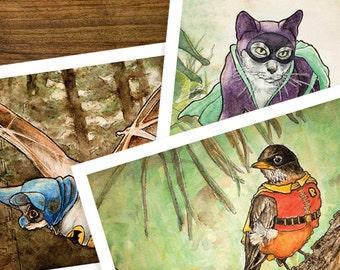 Batman, Robin, and Catwoman, Animals in Golden Age Comics Costumes, Art Prints Set