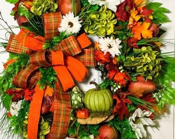 Orange fall wreath,autumn wreath,grapevine wreath,outdoor wreath,fruit wreath,pear wreath,floral wreath,pumpkin wreath,