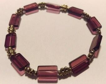 Purple glass beaded bracelet