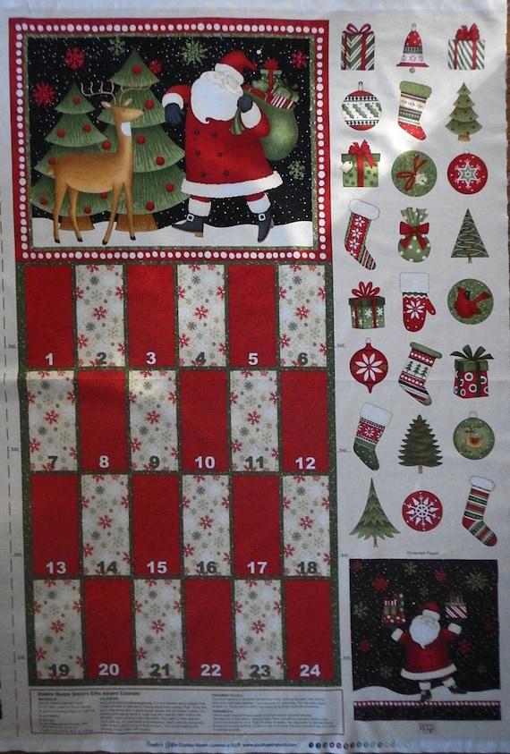 Christmas advent calendar panel fabric santa friends for Children s fabric panels