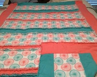 Large 50x66 three layer rag quilt
