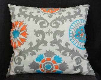 Pillow Cover 18x18, Mandarin Print with Grey, Orange and Light Teal