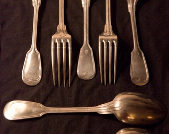 SUMMER SALE!!! Christofle Chinon type spoon & fork late 1800's Krupp Berndorf (3 pieces) and Unidentified Maker (4 pieces)