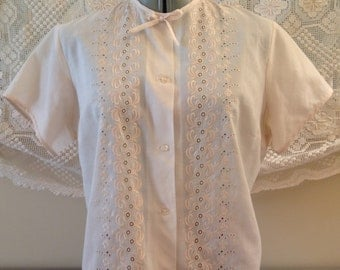 Classic 60s Richall mod cream hand embroidered bow detail blouse L