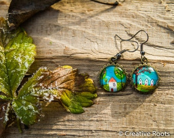 Resin Earrings in with House- Theme,  Nickelfree