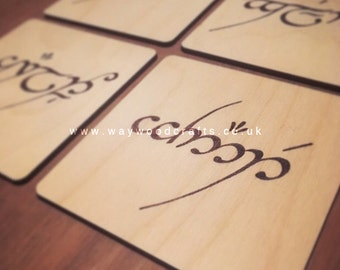 Name in Elvish - Wood Burnt Coaster