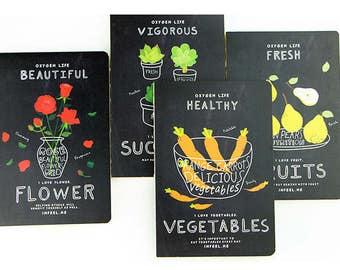 Oxygen Life Minimalist Notebook,blank notebook,Diary,Journal,Planner,Journal Insert,Planner Insert, Succulent, Fruit, Vegetables,Flower