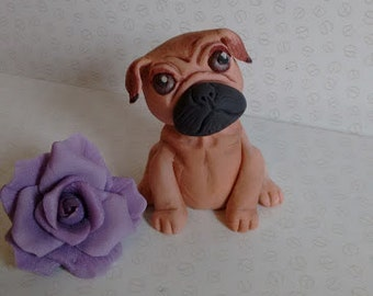 Pug edible cake topper