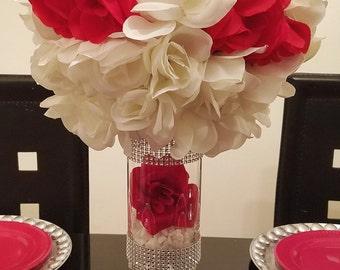 "7.5"", 11.5"" and 15.5"" Centerpiece Vase, Cylinder Vase, Rhinestone Vase, Candle Holder, Rhinestone Cylinder, Candy Buffet Jars, Candy Jars"