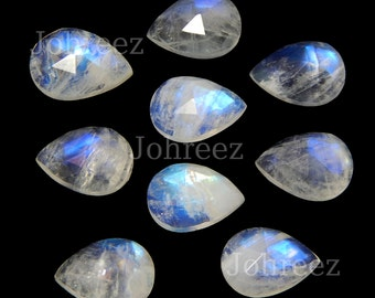 20 pieces natural rainbow moonstone pear rose cut loose gemstone