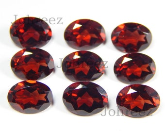 25 Piece Natural Garnet Oval Shape Faceted Cut Loose Gemstone High Quality