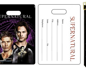 Supernatural Sam Dean Winchester Jensen Ackles Jared Padalecki  Bag Luggage Tag