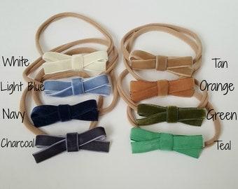 Cute Velvet Bow Nylon Headband or Clip - White, Light Blue, Navy, Charcoal, Tan, Orange, Green, Teal