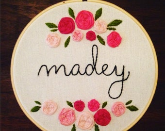 Personalized Last Name Embroidery Hoop